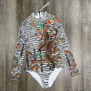 Camilla Long Sleeve Animal Print Swimsuit Small